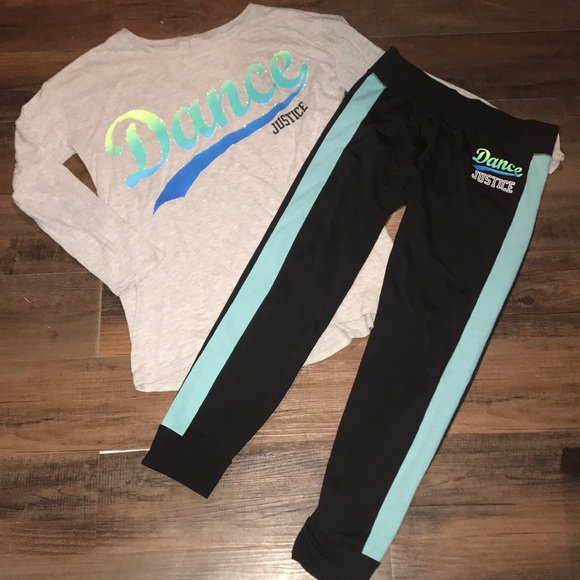 NWT JUSTICE GIRLS SIZE 12 OUTFIT~DANCE HOODED TEE DANCE LEGGINGS
